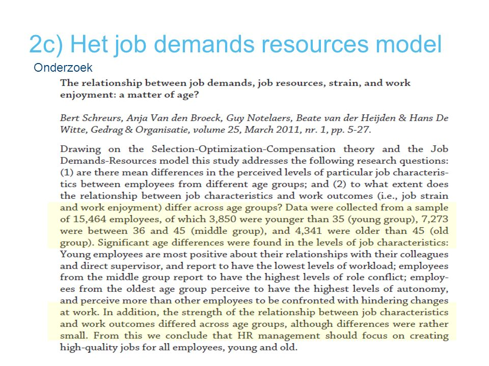 2c) Het job demands resources model Onderzoek