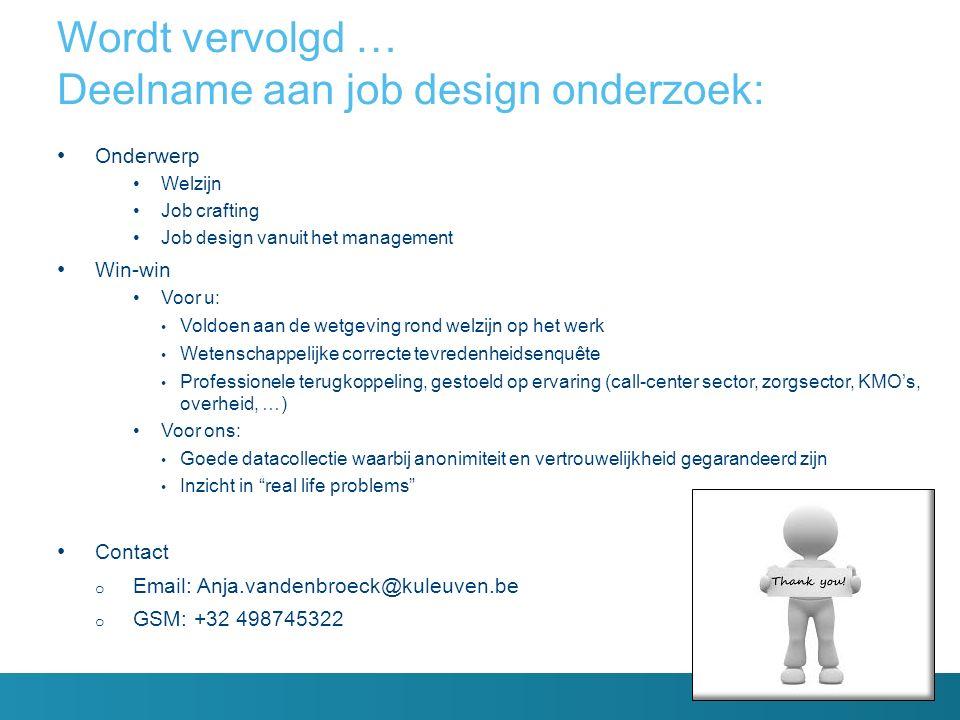 Onderwerp Welzijn Job crafting Job design vanuit het management Win-win Voor u: Voldoen aan de wetgeving rond welzijn op het werk Wetenschappelijke co