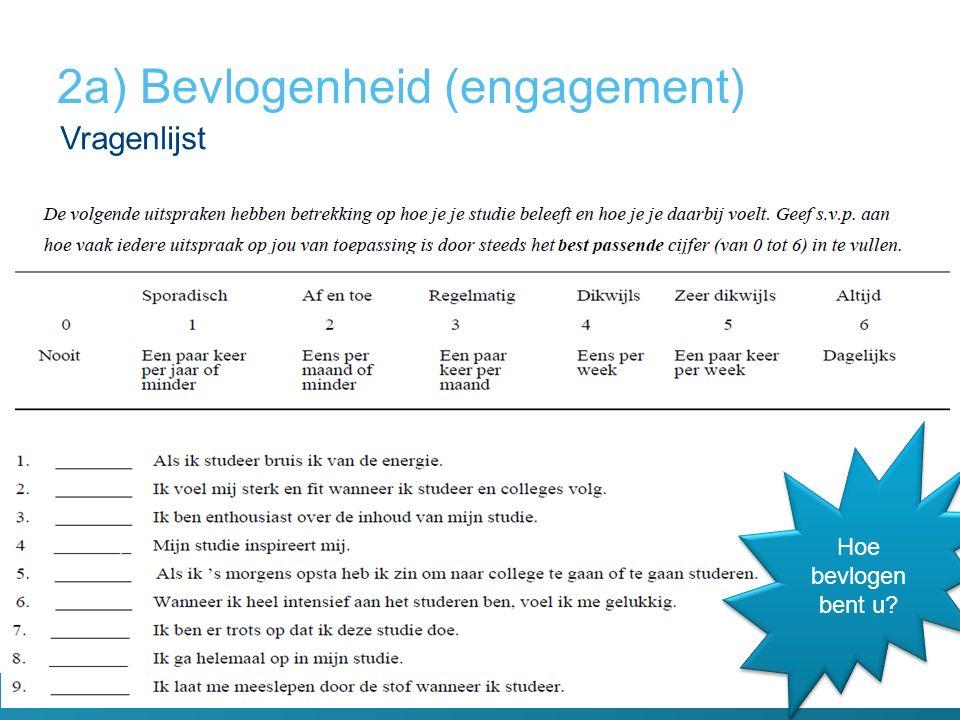 Vragenlijst 2a) Bevlogenheid (engagement) Hoe bevlogen bent u?