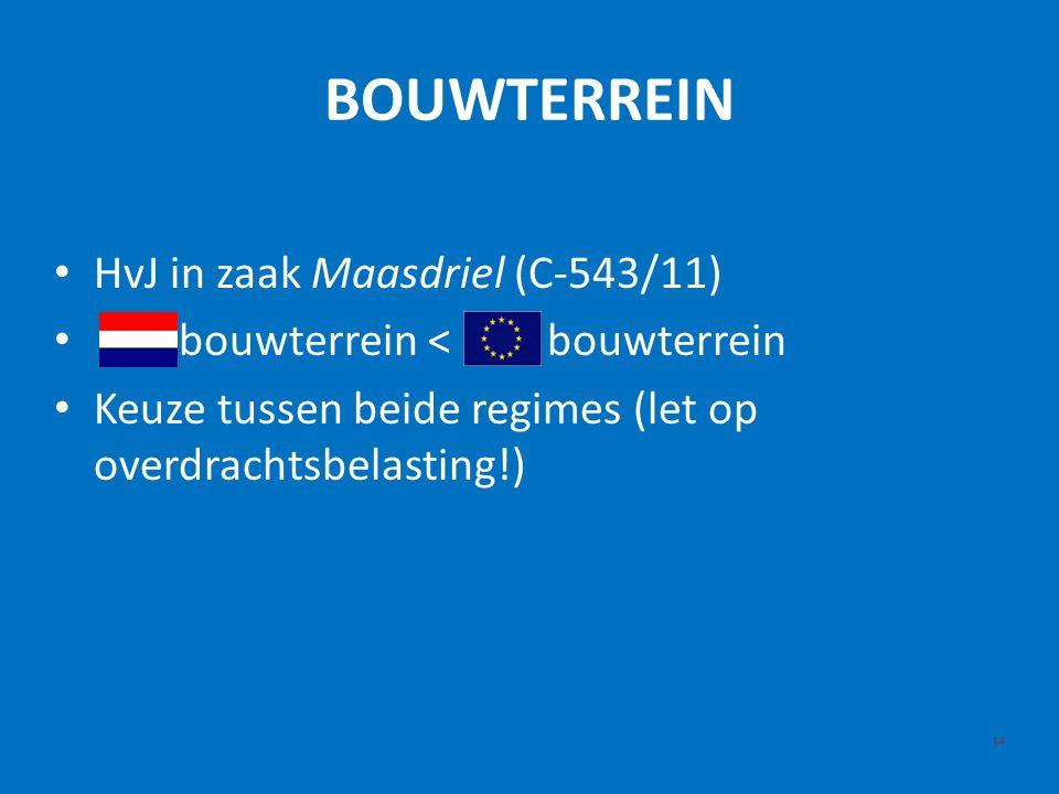 BOUWTERREIN HvJ in zaak Maasdriel (C-543/11) bouwterrein < bouwterrein Keuze tussen beide regimes (let op overdrachtsbelasting!) 14