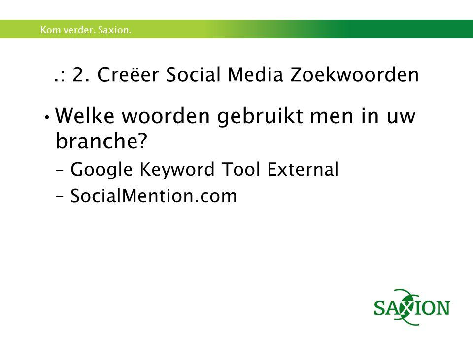 Kom verder. Saxion..: 2. Creëer Social Media Zoekwoorden Welke woorden gebruikt men in uw branche.