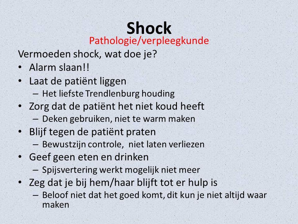 Shock Pathologie/verpleegkunde Vermoeden shock, wat doe je.
