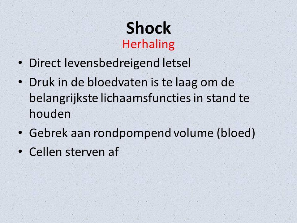 Shock Herhaling Direct levensbedreigend letsel Druk in de bloedvaten is te laag om de belangrijkste lichaamsfuncties in stand te houden Gebrek aan rondpompend volume (bloed) Cellen sterven af