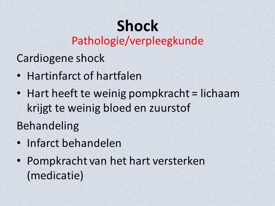 Shock Pathologie/verpleegkunde Cardiogene shock Hartinfarct of hartfalen Hart heeft te weinig pompkracht = lichaam krijgt te weinig bloed en zuurstof Behandeling Infarct behandelen Pompkracht van het hart versterken (medicatie)