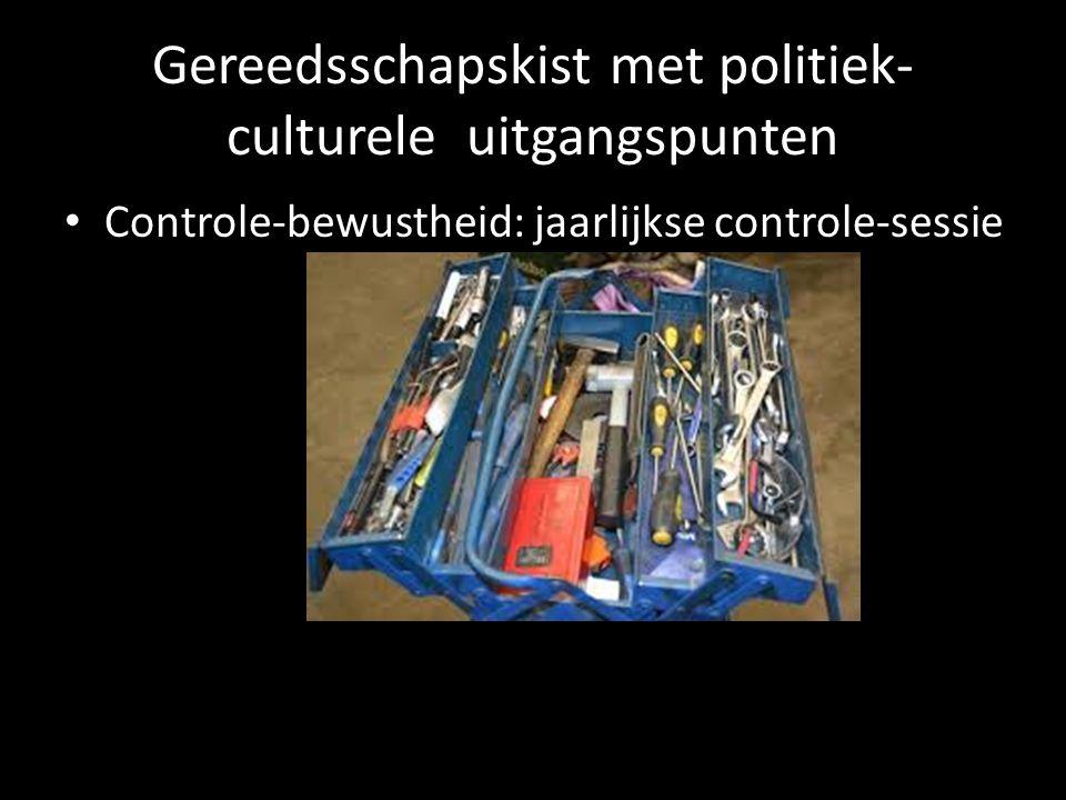 Gereedsschapskist met politiek- culturele uitgangspunten Controle-bewustheid: jaarlijkse controle-sessie