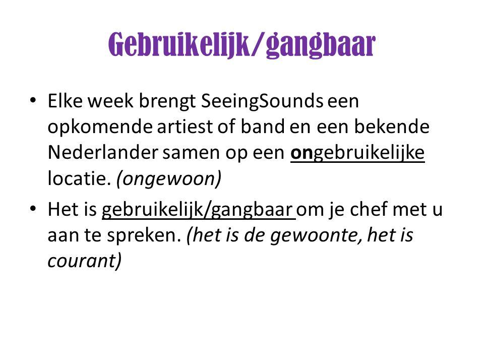 Elke week brengt SeeingSounds een opkomende artiest of band en een bekende Nederlander samen op een ongebruikelijke locatie. (ongewoon) Het is gebruik