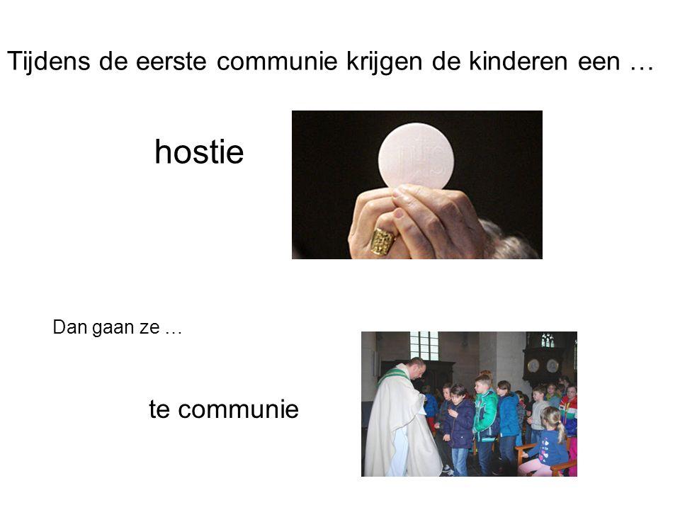Tijdens de eerste communie krijgen de kinderen een … hostie Dan gaan ze … te communie
