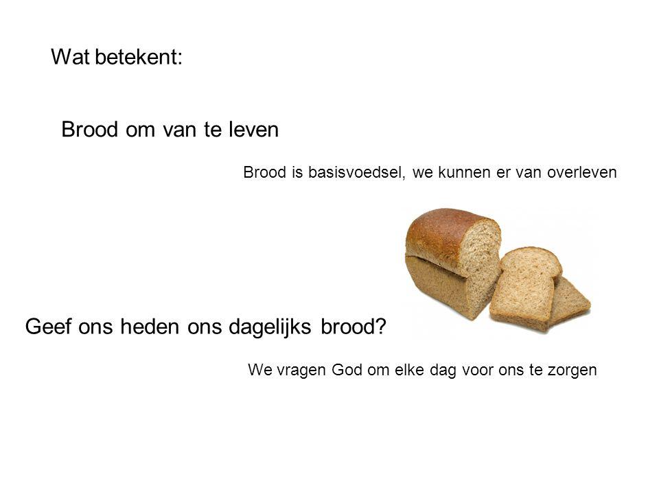 Wat betekent: Geef ons heden ons dagelijks brood? We vragen God om elke dag voor ons te zorgen Brood om van te leven Brood is basisvoedsel, we kunnen