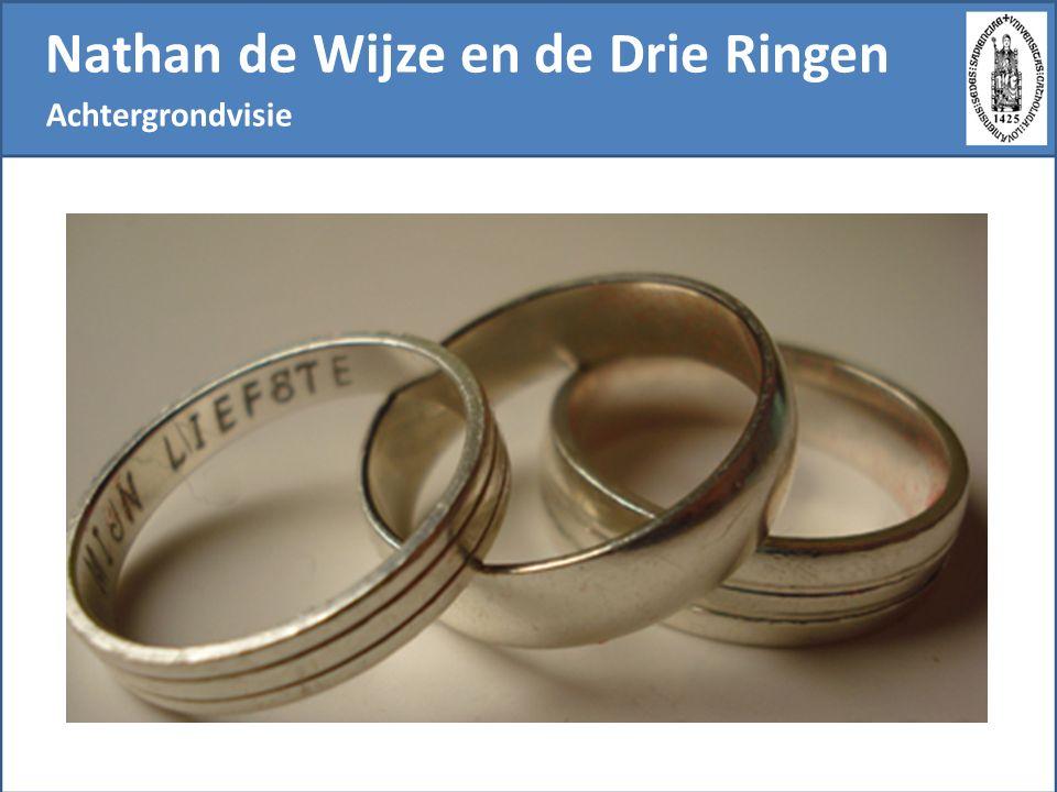 Nathan de Wijze en de Drie Ringen Van een traditioneel katholicisme naar een open christendom De essentie van het christendom bestaat er in te leven alsof men de ware ring bezit.  Men kan de nadruk leggen op 'leven', op de 'ware ring', of op 'bezit'.