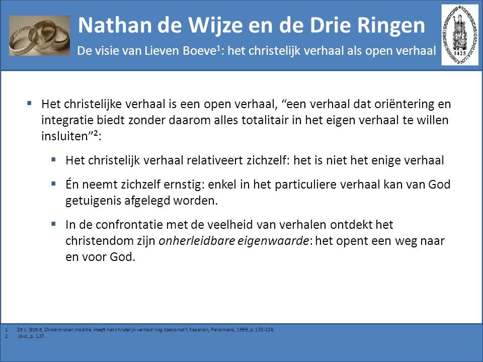 Nathan de Wijze en de Drie Ringen De visie van Lieven Boeve 1 : mogelijke interpretaties van de parabel  Deze parabel staat niet symbool voor een godsdienstig relativisme, noch voor een reductie van religie tot ethische praxis.