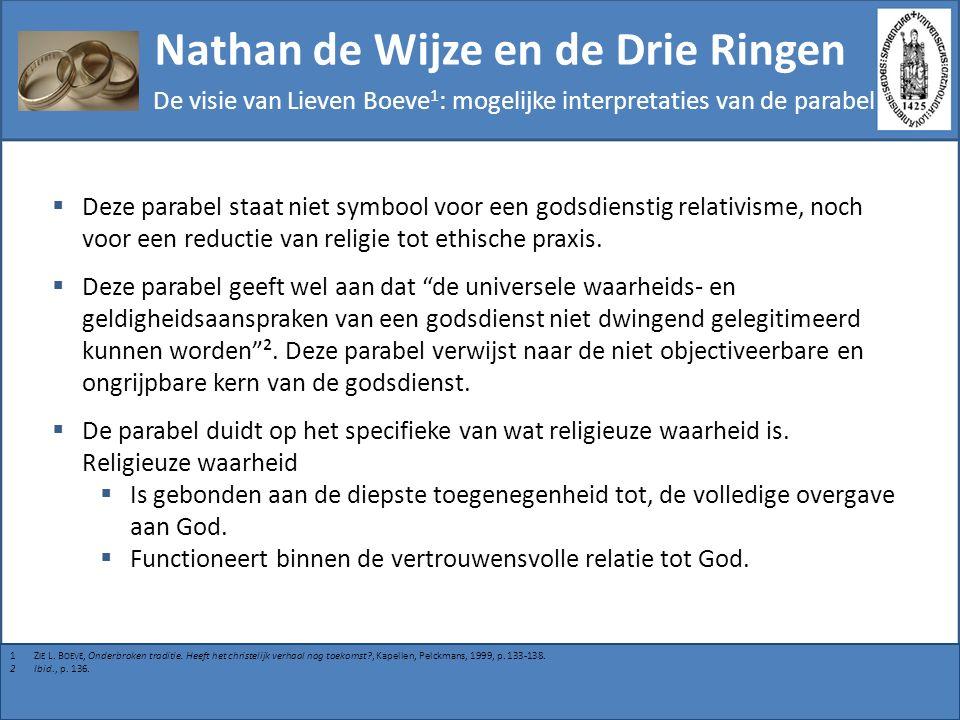Nathan de Wijze en de Drie Ringen De visie van Lieven Boeve 1 : mogelijke interpretaties van de parabel  Deze parabel staat niet symbool voor een god