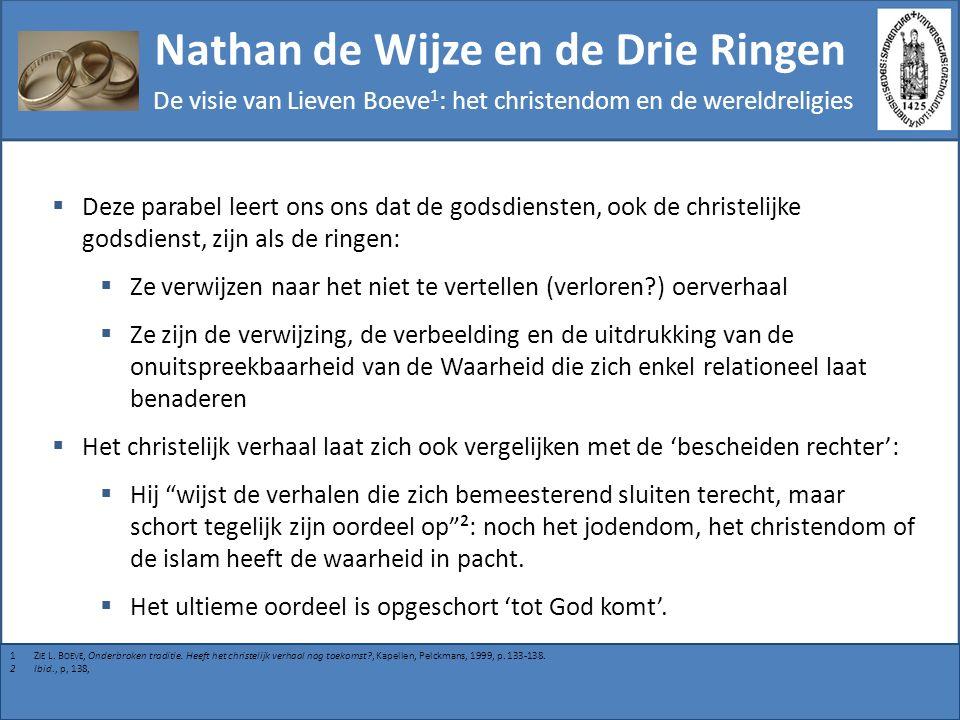 Nathan de Wijze en de Drie Ringen De visie van Lieven Boeve 1 : het christendom en de wereldreligies  Deze parabel leert ons ons dat de godsdiensten,