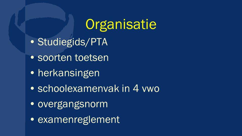 Organisatie Studiegids/PTA soorten toetsen herkansingen schoolexamenvak in 4 vwo overgangsnorm examenreglement