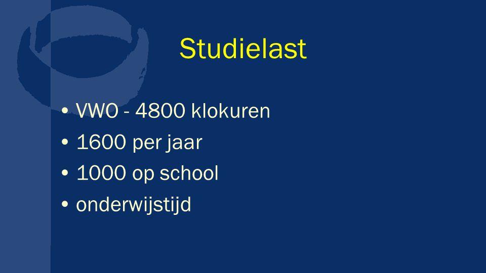 Studielast VWO - 4800 klokuren 1600 per jaar 1000 op school onderwijstijd