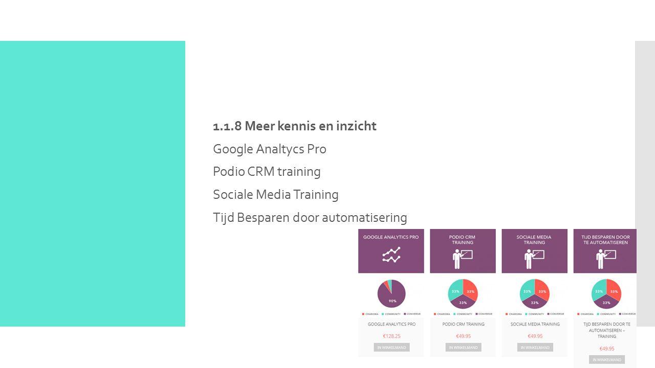 1.1.8 Meer kennis en inzicht Google Analtycs Pro Podio CRM training Sociale Media Training Tijd Besparen door automatisering