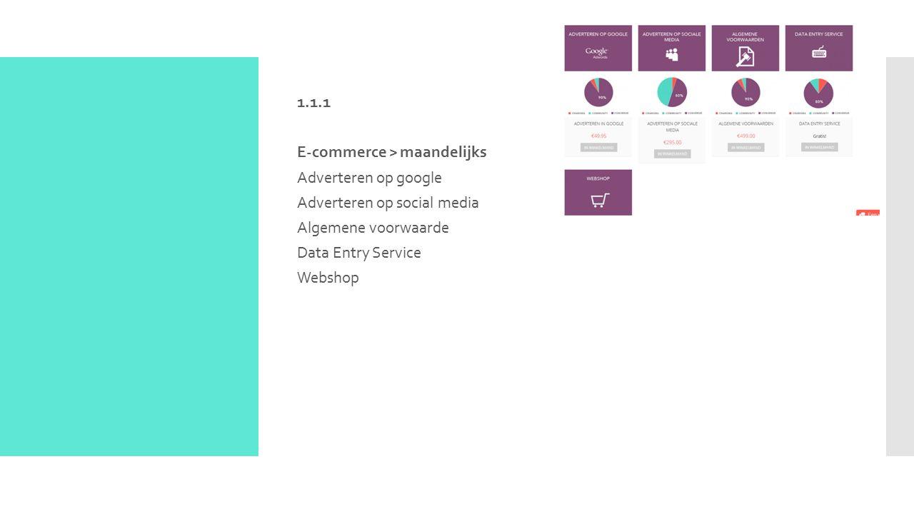 1.1.1 E-commerce > maandelijks Adverteren op google Adverteren op social media Algemene voorwaarde Data Entry Service Webshop