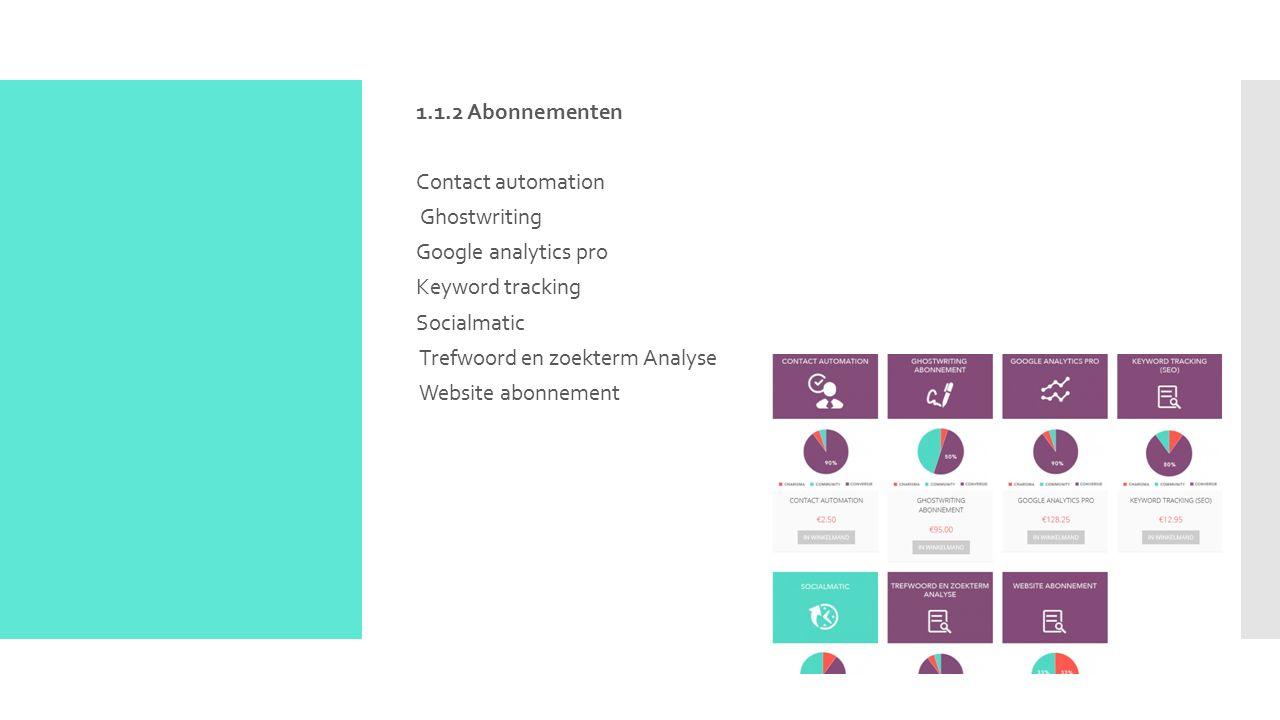  1.1.3 zoekmachineoptimalisatie Blogs en artikelen Ghost writing abonnement Keyword tracking ( SEO) Online statistieken