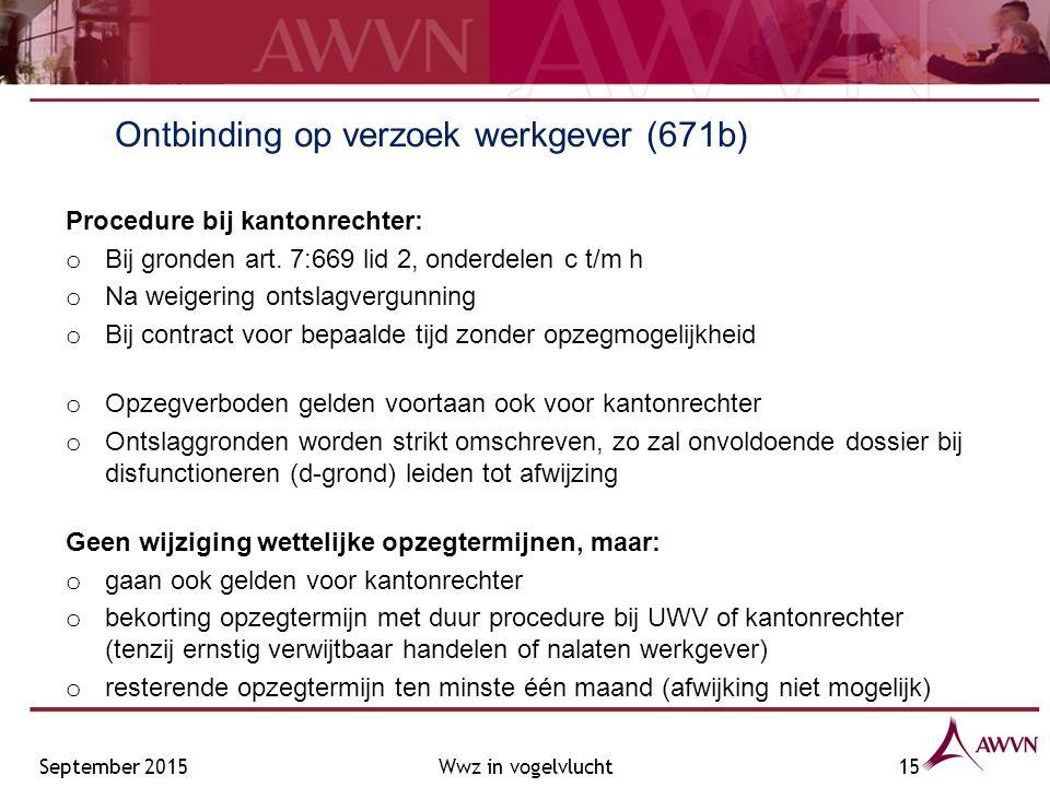 Ontbinding op verzoek werkgever (671b) Procedure bij kantonrechter: o Bij gronden art.