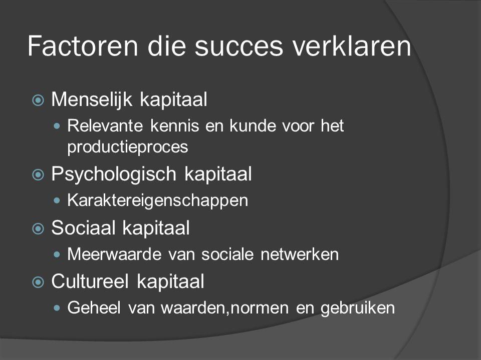 Factoren die succes verklaren  Menselijk kapitaal Relevante kennis en kunde voor het productieproces  Psychologisch kapitaal Karaktereigenschappen  Sociaal kapitaal Meerwaarde van sociale netwerken  Cultureel kapitaal Geheel van waarden,normen en gebruiken