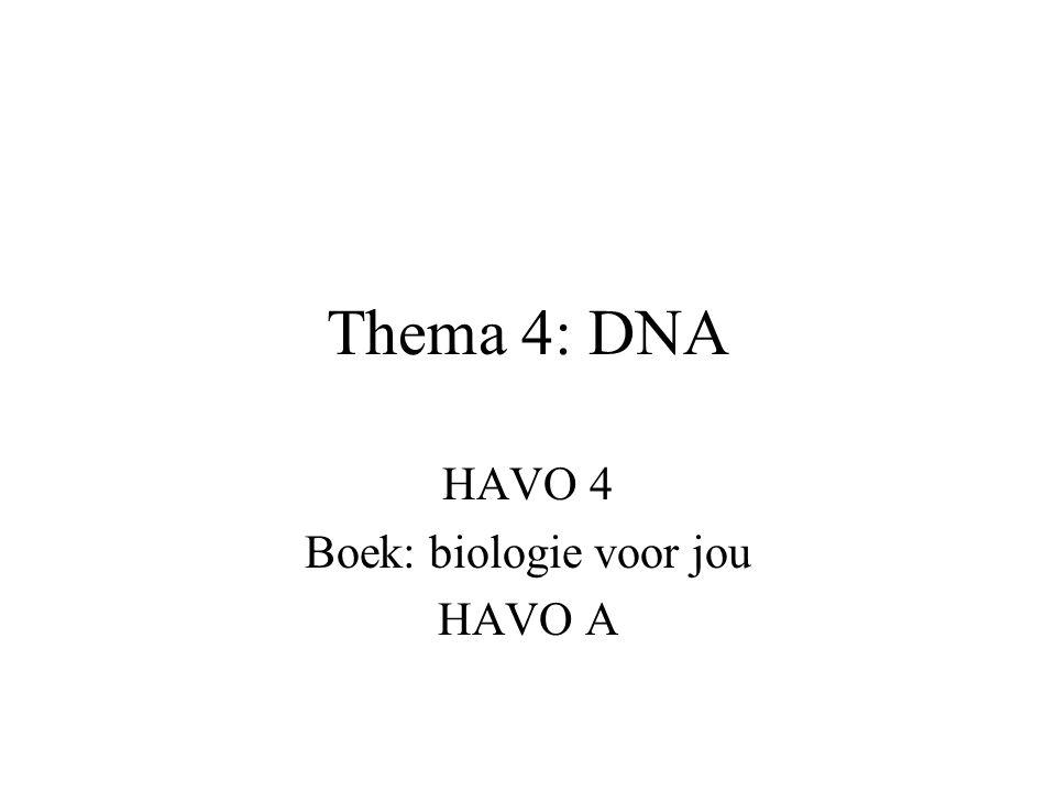 Thema 4: DNA HAVO 4 Boek: biologie voor jou HAVO A