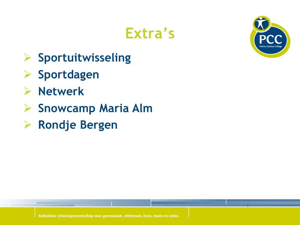Extra's  Sportuitwisseling  Sportdagen  Netwerk  Snowcamp Maria Alm  Rondje Bergen