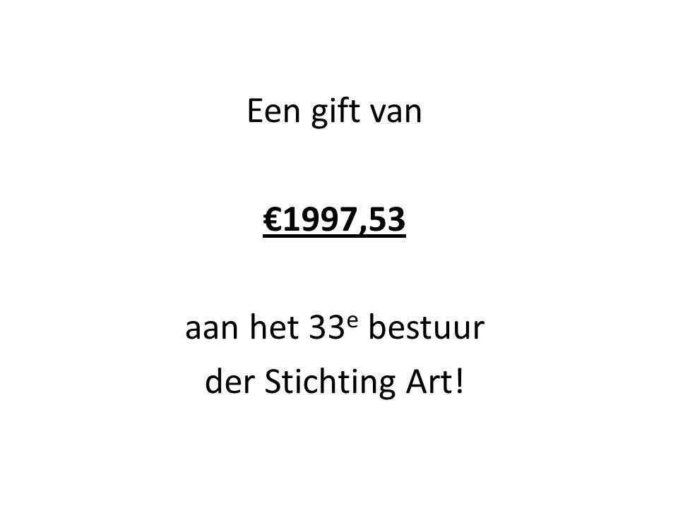 Een gift van €1997,53 aan het 33 e bestuur der Stichting Art!