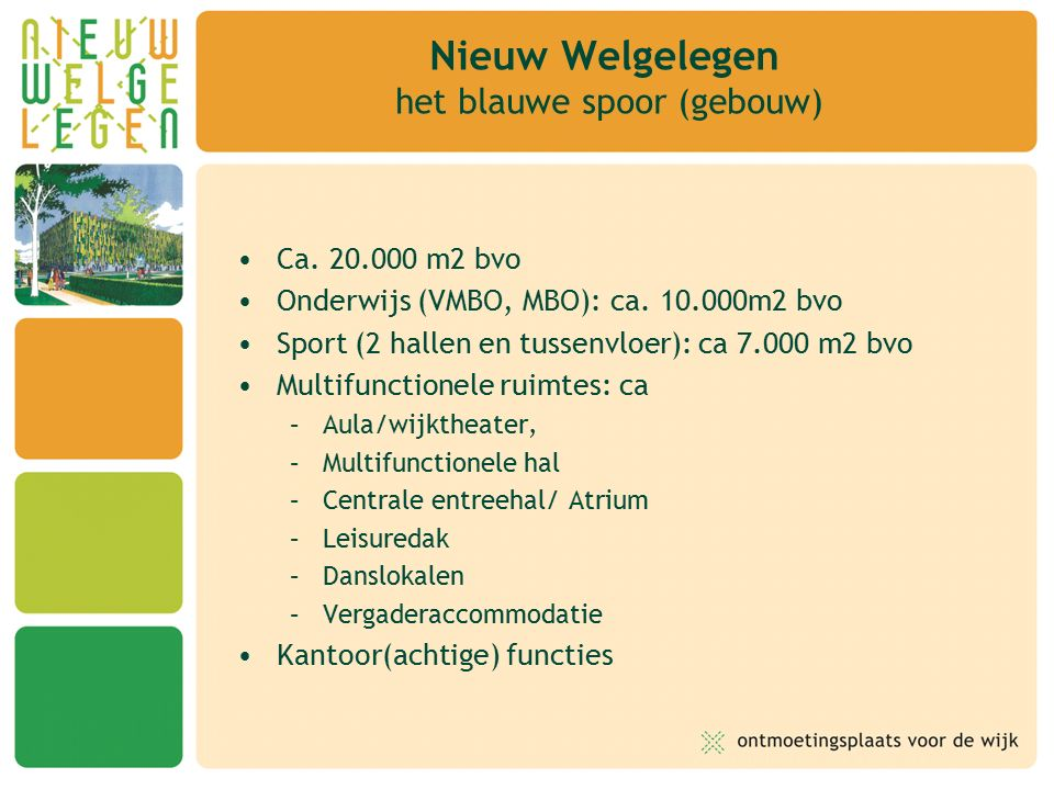 Ca. 20.000 m2 bvo Onderwijs (VMBO, MBO): ca.