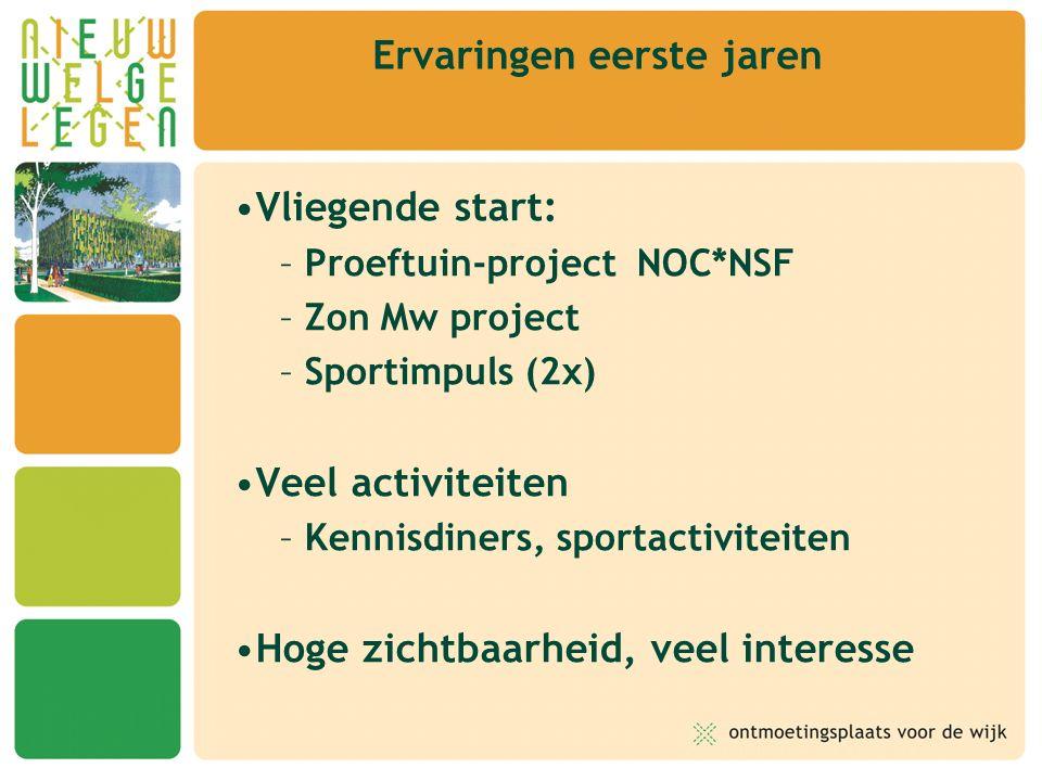 Vliegende start: – Proeftuin-project NOC*NSF – Zon Mw project – Sportimpuls (2x) Veel activiteiten – Kennisdiners, sportactiviteiten Hoge zichtbaarheid, veel interesse Ervaringen eerste jaren