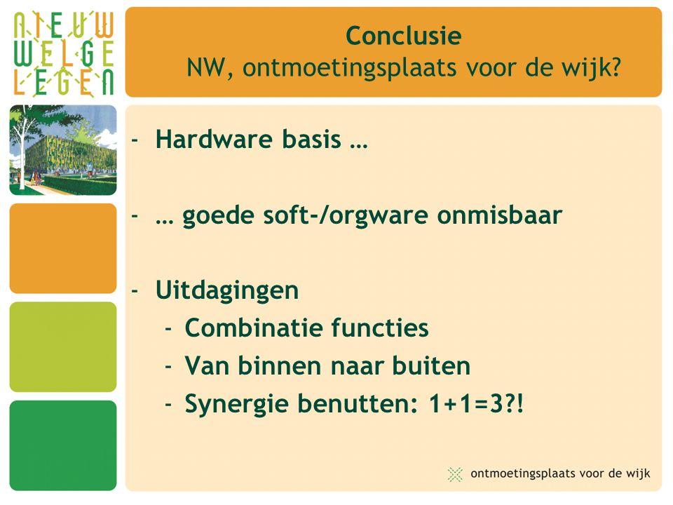 -Hardware basis … -… goede soft-/orgware onmisbaar -Uitdagingen -Combinatie functies -Van binnen naar buiten -Synergie benutten: 1+1=3?! Conclusie NW,