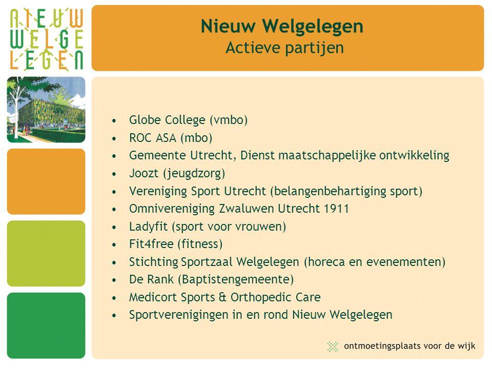 Globe College (vmbo) ROC ASA (mbo) Gemeente Utrecht, Dienst maatschappelijke ontwikkeling Joozt (jeugdzorg) Vereniging Sport Utrecht (belangenbehartiging sport) Omnivereniging Zwaluwen Utrecht 1911 Ladyfit (sport voor vrouwen) Fit4free (fitness) Stichting Sportzaal Welgelegen (horeca en evenementen) De Rank (Baptistengemeente) Medicort Sports & Orthopedic Care Sportverenigingen in en rond Nieuw Welgelegen Nieuw Welgelegen Actieve partijen
