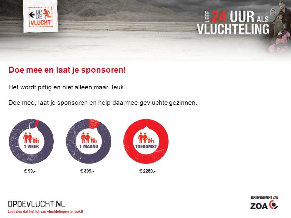 Doe mee en laat je sponsoren! Het wordt pittig en niet alleen maar 'leuk'. Doe mee, laat je sponsoren en help daarmee gevluchte gezinnen. € 99,- € 399