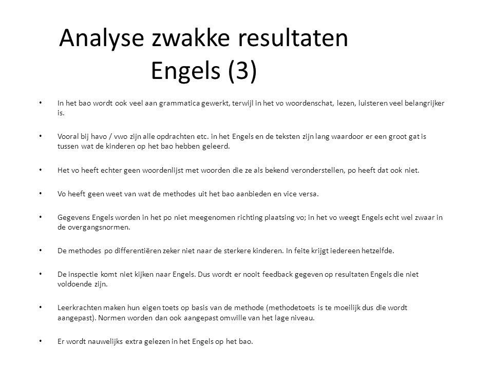 Analyse zwakke resultaten Engels (3) In het bao wordt ook veel aan grammatica gewerkt, terwijl in het vo woordenschat, lezen, luisteren veel belangrijker is.