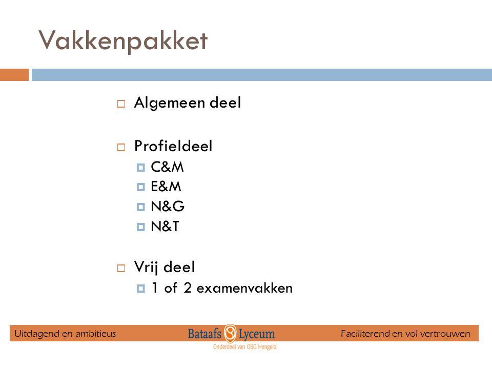 Vakkenpakket  Algemeen deel  Profieldeel  C&M  E&M  N&G  N&T  Vrij deel  1 of 2 examenvakken Uitdagend en ambitieus Faciliterend en vol vertro