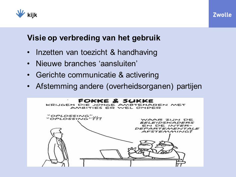 kijk Visie op verbreding van het gebruik Inzetten van toezicht & handhaving Nieuwe branches 'aansluiten' Gerichte communicatie & activering Afstemming