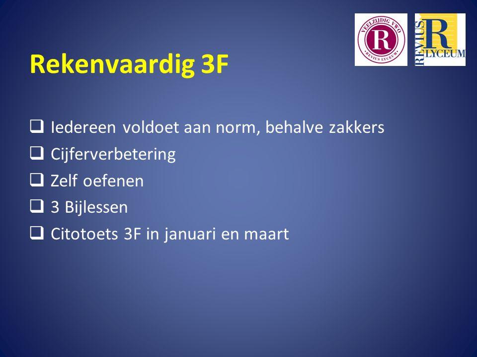 Rekenvaardig 3F  Iedereen voldoet aan norm, behalve zakkers  Cijferverbetering  Zelf oefenen  3 Bijlessen  Citotoets 3F in januari en maart