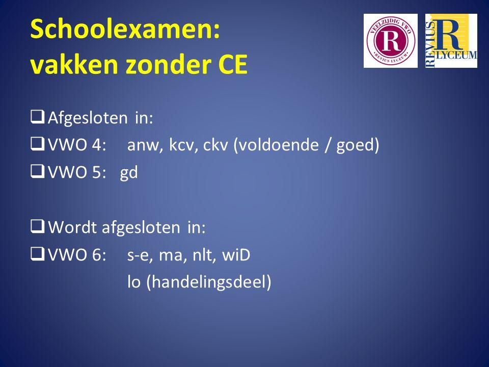 Schoolexamen: vakken zonder CE  Afgesloten in:  VWO 4:anw, kcv, ckv (voldoende / goed)  VWO 5: gd  Wordt afgesloten in:  VWO 6: s-e, ma, nlt, wiD lo (handelingsdeel)