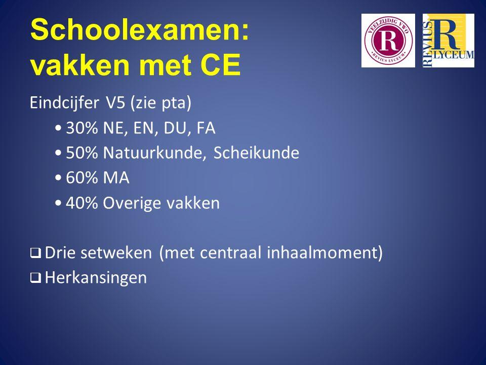 Schoolexamen: vakken met CE Eindcijfer V5 (zie pta) 30% NE, EN, DU, FA 50% Natuurkunde, Scheikunde 60% MA 40% Overige vakken  Drie setweken (met centraal inhaalmoment)  Herkansingen