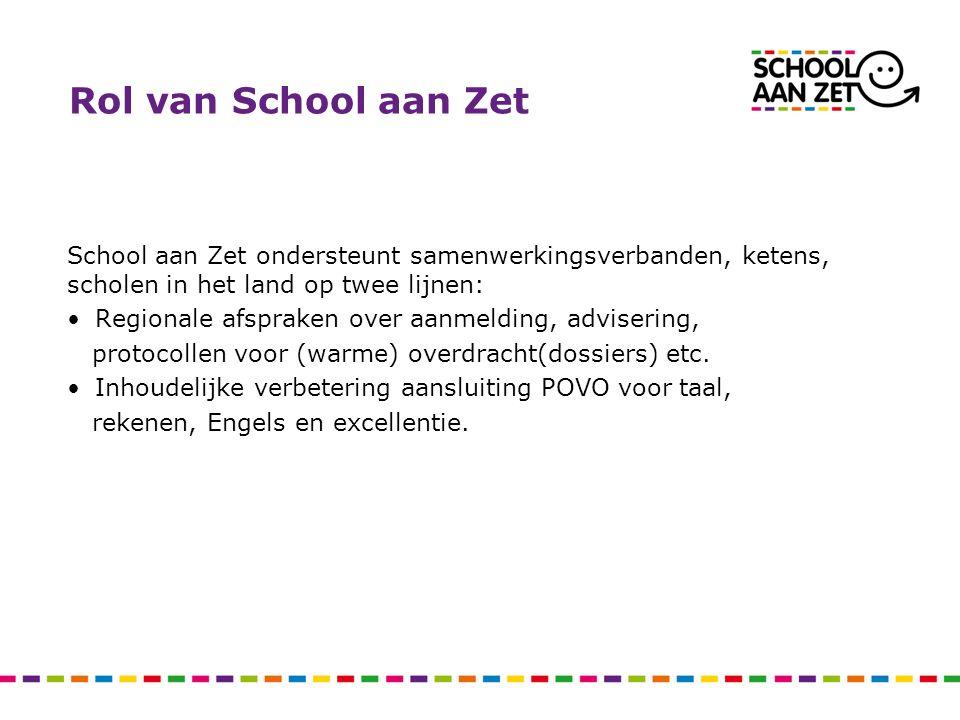 Rol van School aan Zet School aan Zet ondersteunt samenwerkingsverbanden, ketens, scholen in het land op twee lijnen: Regionale afspraken over aanmeld