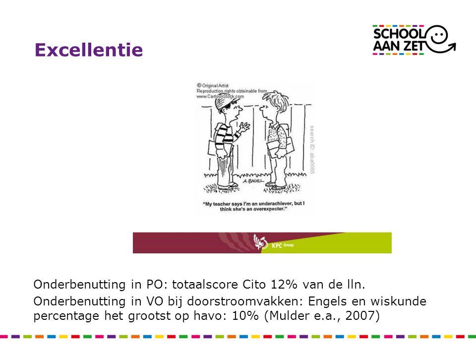 Excellentie Onderbenutting in PO: totaalscore Cito 12% van de lln. Onderbenutting in VO bij doorstroomvakken: Engels en wiskunde percentage het groots