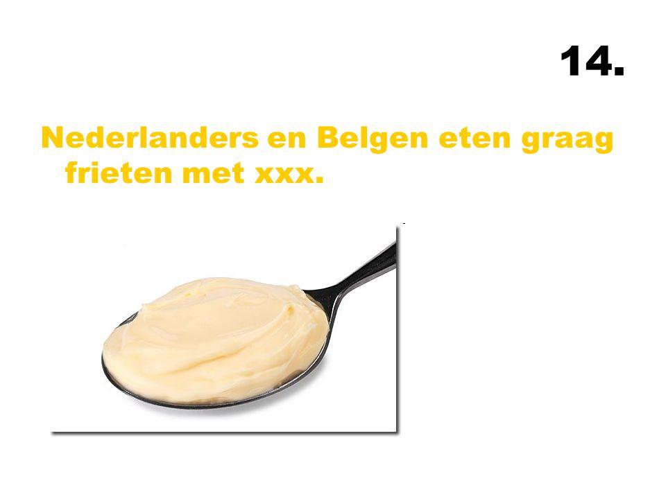 14. Nederlanders en Belgen eten graag frieten met xxx.