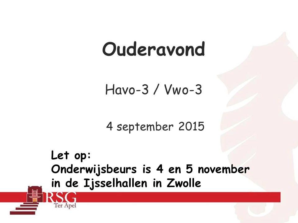Ouderavond Havo-3 / Vwo-3 4 september 2015 Let op: Onderwijsbeurs is 4 en 5 november in de Ijsselhallen in Zwolle