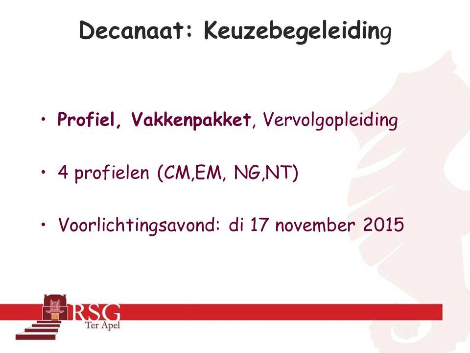 Decanaat: Keuzebegeleiding Profiel, Vakkenpakket, Vervolgopleiding 4 profielen (CM,EM, NG,NT) Voorlichtingsavond: di 17 november 2015