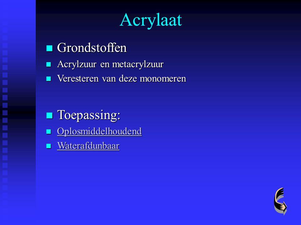 Acrylaat Grondstoffen Grondstoffen Acrylzuur en metacrylzuur Acrylzuur en metacrylzuur Veresteren van deze monomeren Veresteren van deze monomeren Toe