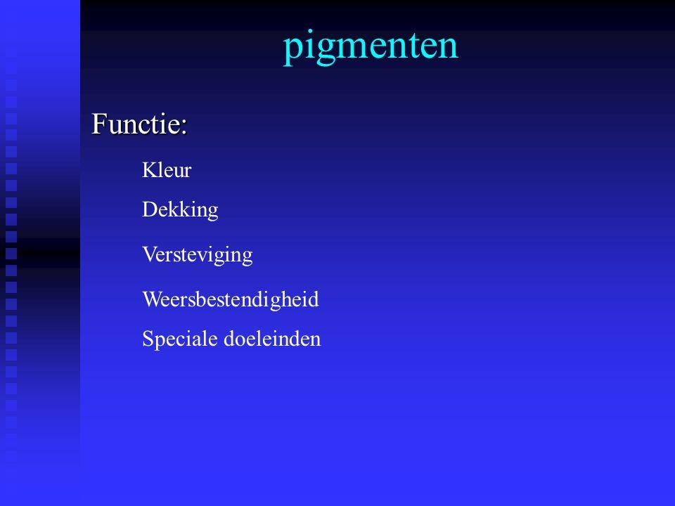 pigmentenFunctie: Kleur Dekking Versteviging Weersbestendigheid Speciale doeleinden