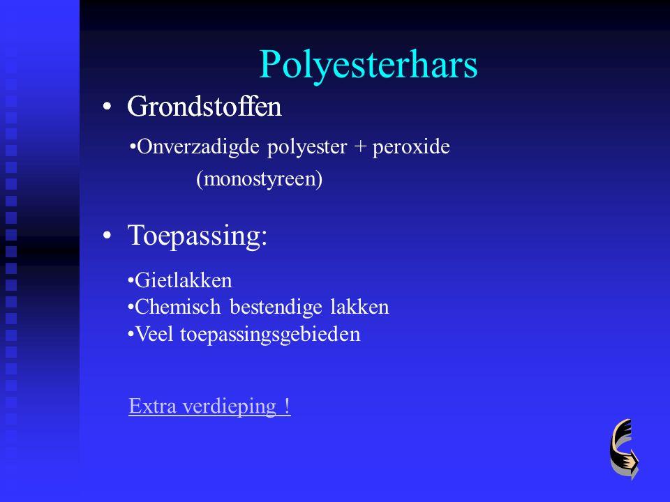 Polyesterhars Grondstoffen Toepassing: Gietlakken Chemisch bestendige lakken Veel toepassingsgebieden Grondstoffen Onverzadigde polyester + peroxide (