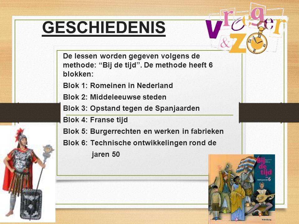 """De lessen worden gegeven volgens de methode: """"Bij de tijd"""". De methode heeft 6 blokken: Blok 1: Romeinen in Nederland Blok 2: Middeleeuwse steden Blok"""