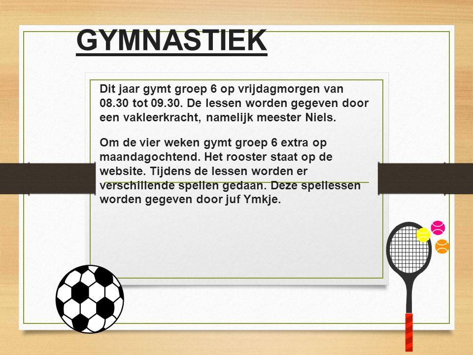 GYMNASTIEK Dit jaar gymt groep 6 op vrijdagmorgen van 08.30 tot 09.30. De lessen worden gegeven door een vakleerkracht, namelijk meester Niels. Om de