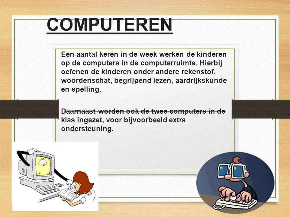 COMPUTEREN Een aantal keren in de week werken de kinderen op de computers in de computerruimte. Hierbij oefenen de kinderen onder andere rekenstof, wo