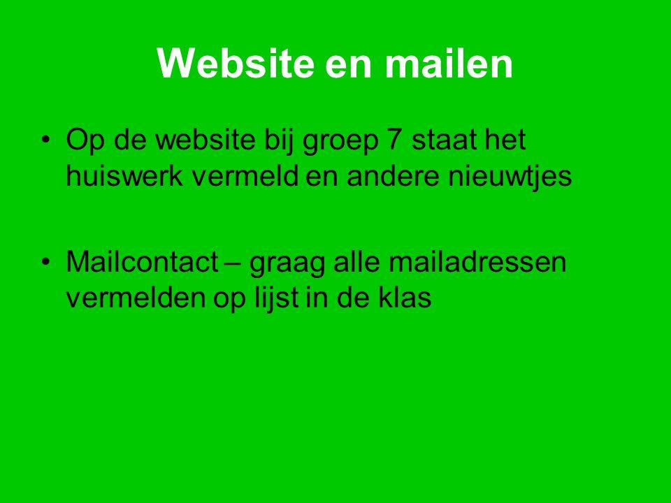 Website en mailen Op de website bij groep 7 staat het huiswerk vermeld en andere nieuwtjes Mailcontact – graag alle mailadressen vermelden op lijst in de klas