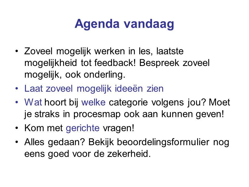 Agenda vandaag Zoveel mogelijk werken in les, laatste mogelijkheid tot feedback! Bespreek zoveel mogelijk, ook onderling. Laat zoveel mogelijk ideeën